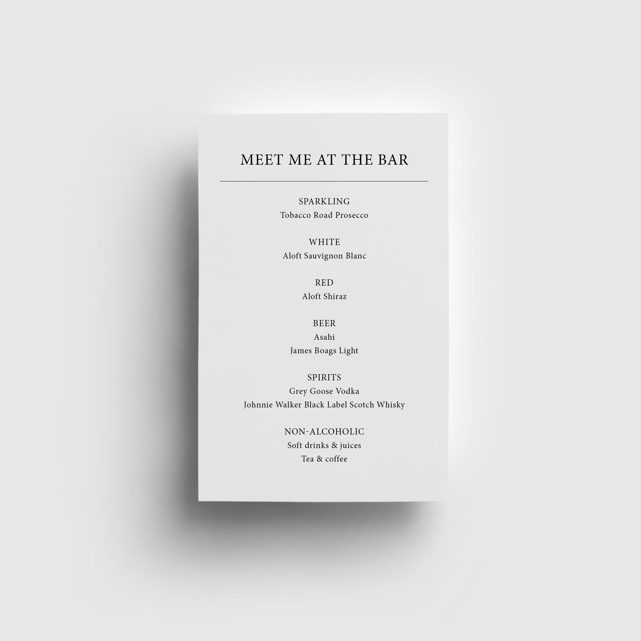 STATIONERY - BAR MENU | Mr + Mrs Barathy
