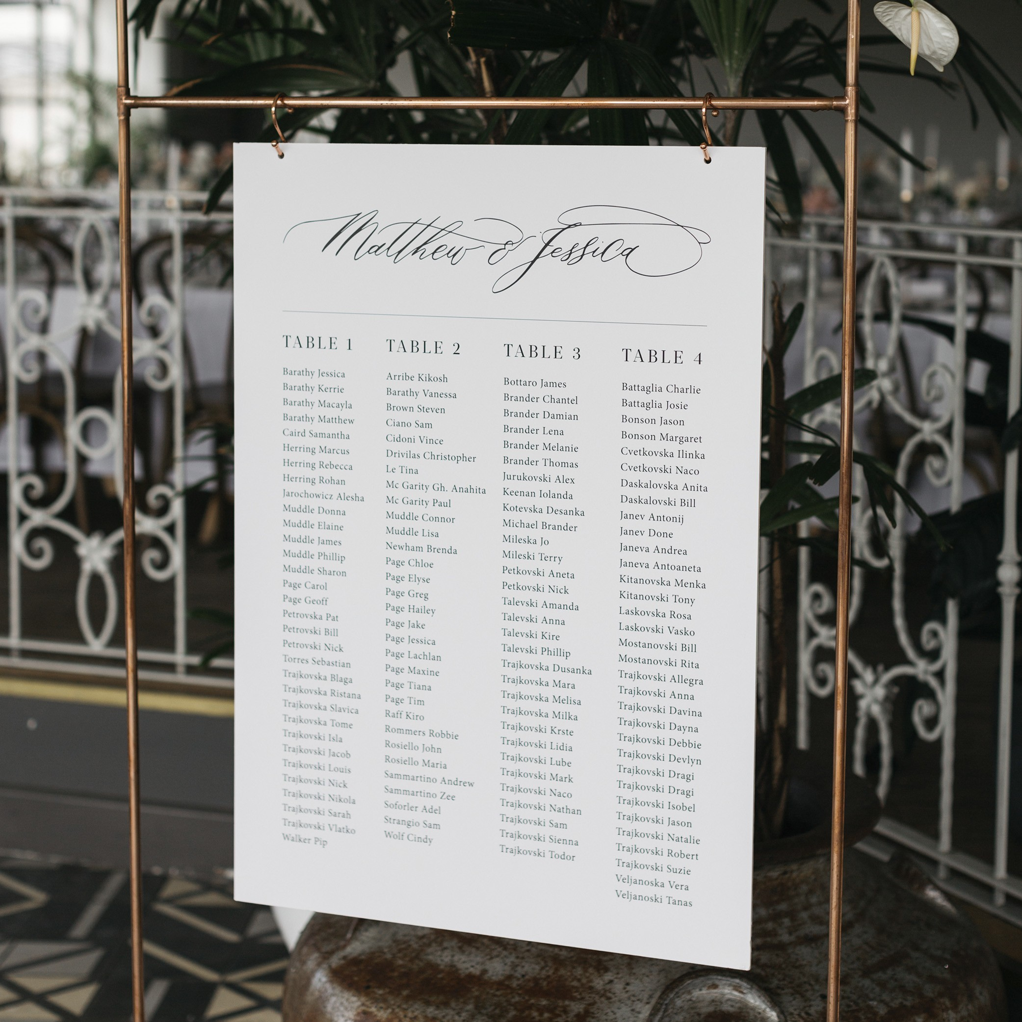 STATIONERY - SEATING CHART | Mr + Mrs Barathy