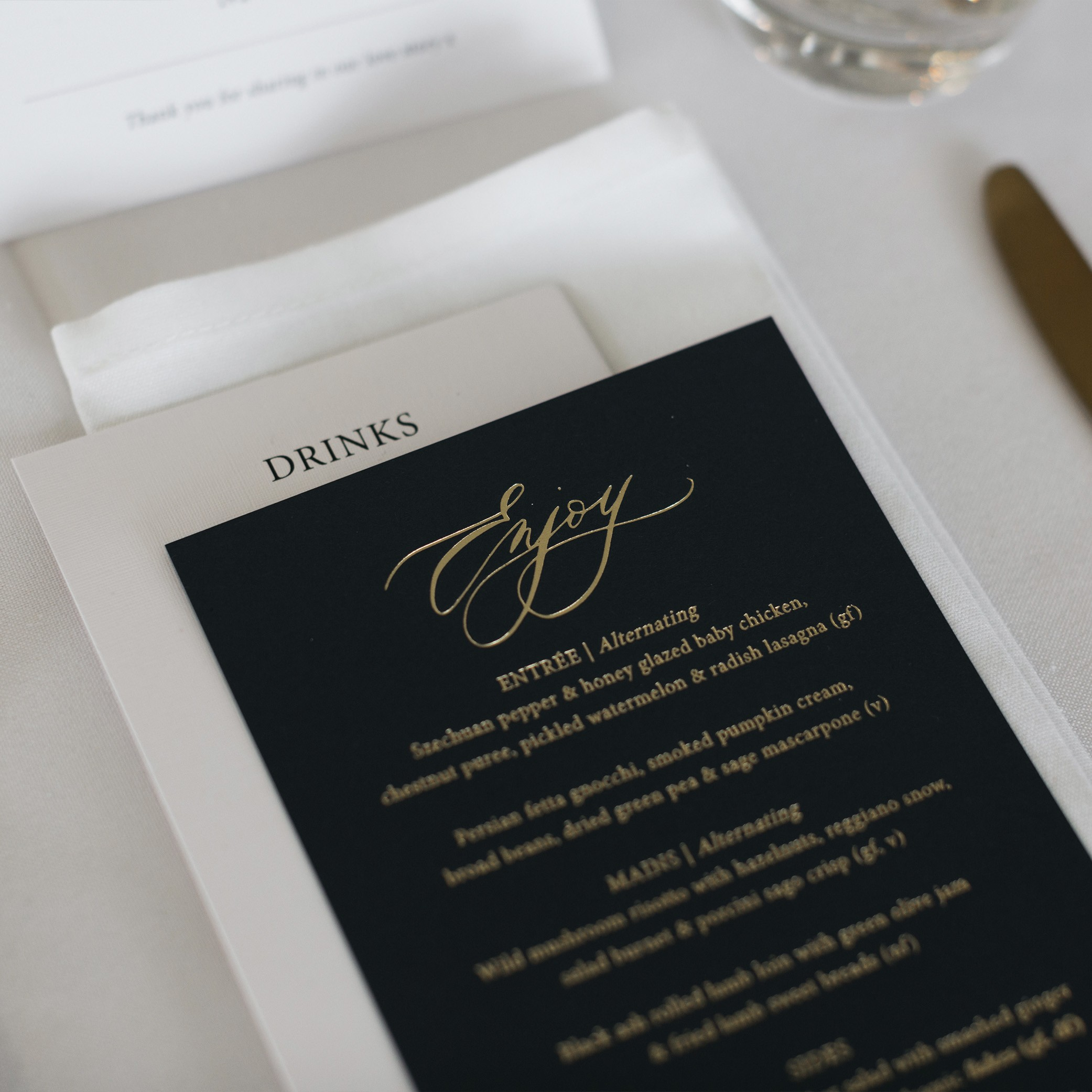 STATIONERY - TABLE MENU CARDS | Mr + Mrs Barathy