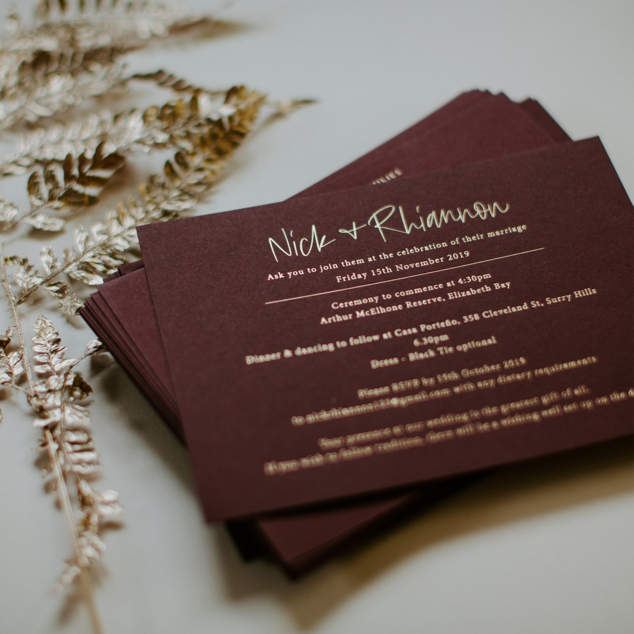 - MAIN INVITATION | Rhainnon + Nick