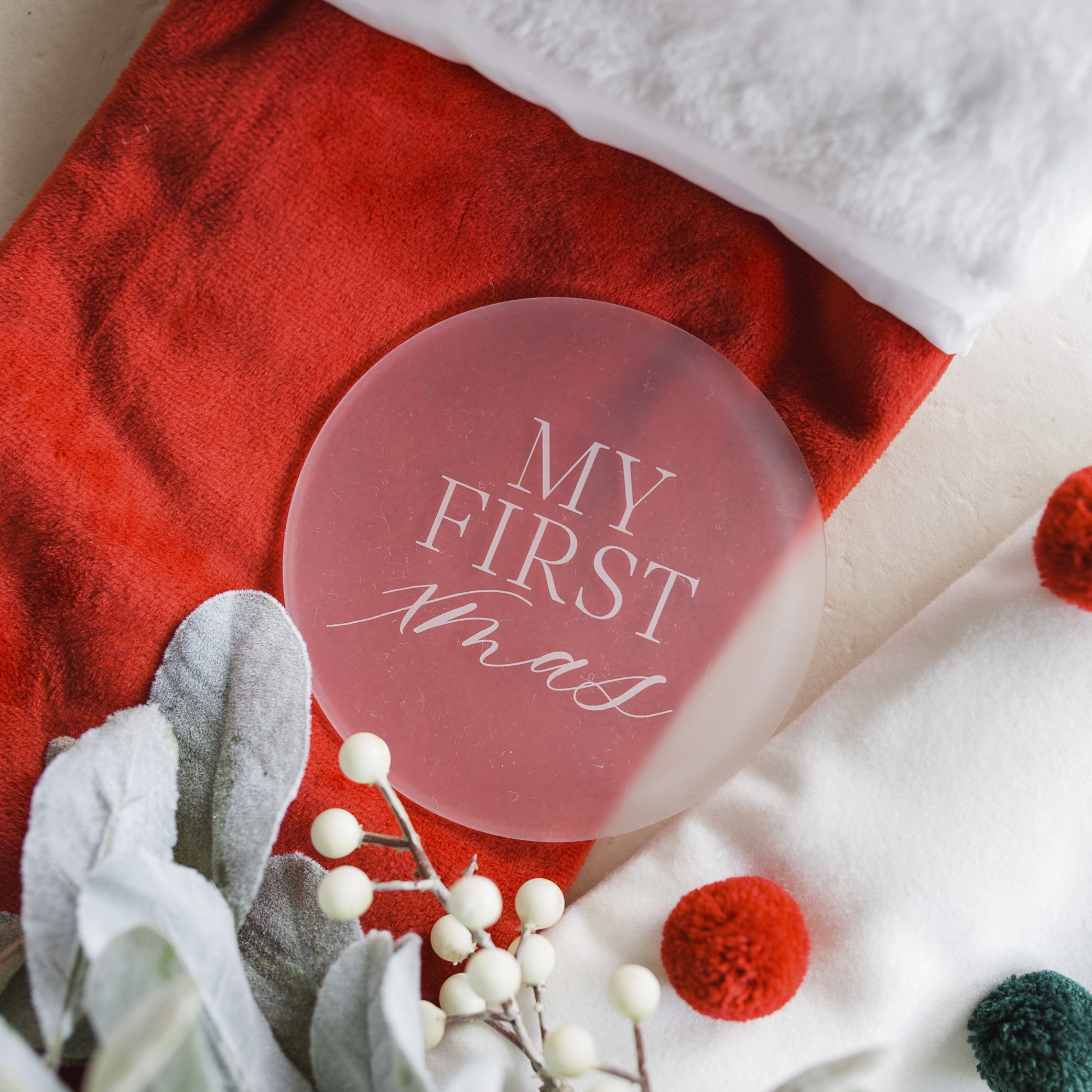 CHRISTMAS - MY FIRST XMAS   FROSTED ACRYLIC MILESTONE PLATES